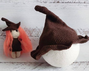 Witch hat and stuffed witch. Newborn halloween props