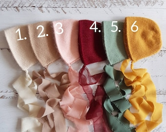 Knitted bonnet. Newborn photo props. Girl photo props.