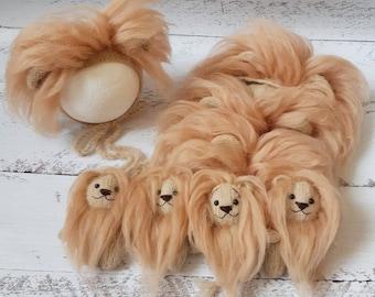 Lion set Handmade newborn photo props. Knitted stuffed lion toy Newborn lion bonnet Newborn photo props