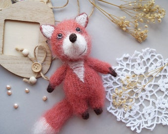 Fox knitted toy. Baby stuffed toy. Newborn photo props. Animal fluffy toy.