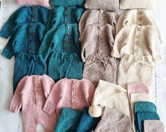 Newborn tweed Bonnet, romper, outfit, pillow, sleepy cap, pants
