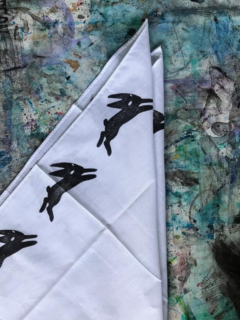 Handprinted Watership Down Black Rabbit of Inle bandana
