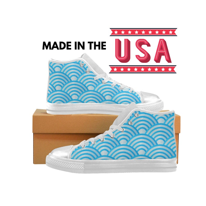 Japanese Waves Pattern High Top Sneakers Japan Wave Design Custom Shoes Made in the USA Abstract Traditional