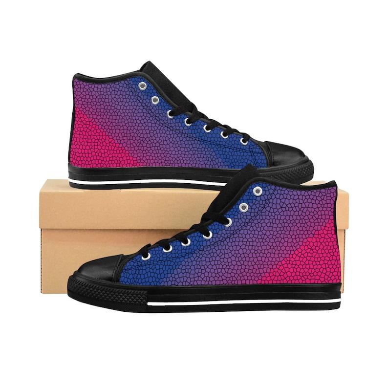 lesbian bisexual Bisexual Flag High Top Sneakers Colorful kicks Bi Pride Mosaic Print Kicks lgbtq Vibrant Design Pride Canvas Shoes