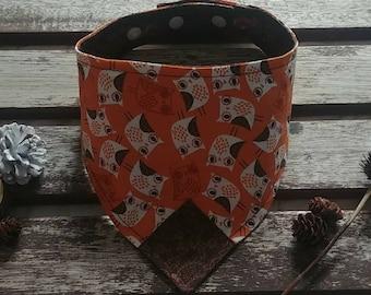 Cat bandana Reversible and Adjustable Dog bandana Unique Pet bandana. 70/'S Mushrooms on Brown with Polka Dots