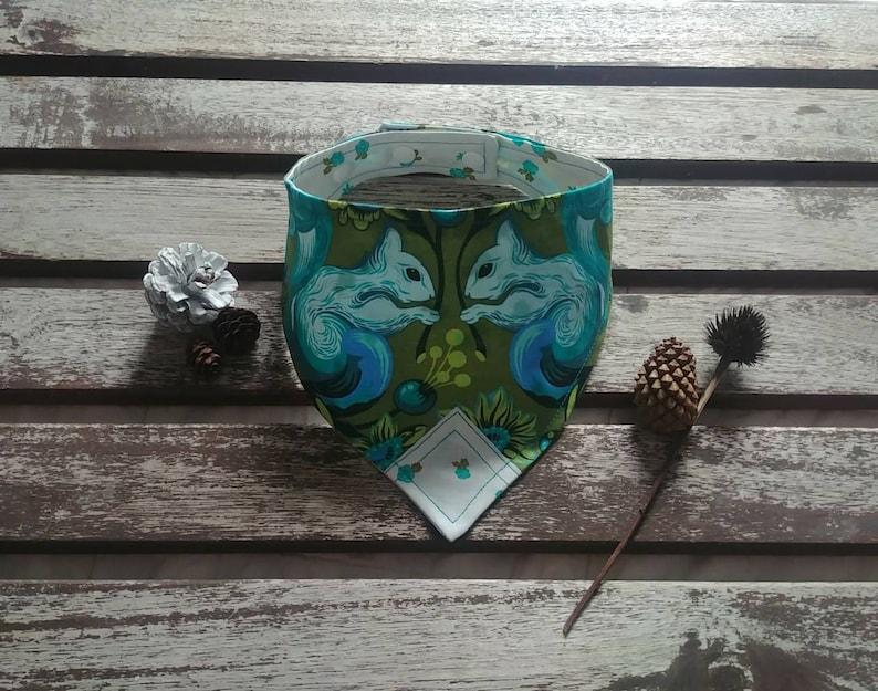 Cat bandana Pet bandana. Reversible and Adjustable Dog bandana Unique Free Spirit Squirrels on Khaki with Flowers