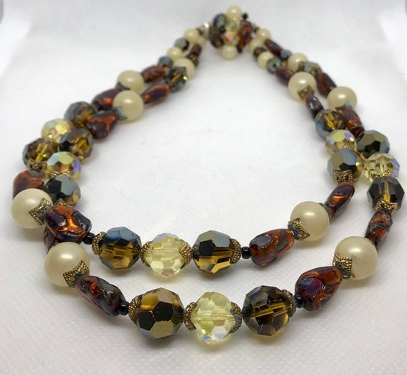 Copper and Faceted Glass Necklace      GJ2916