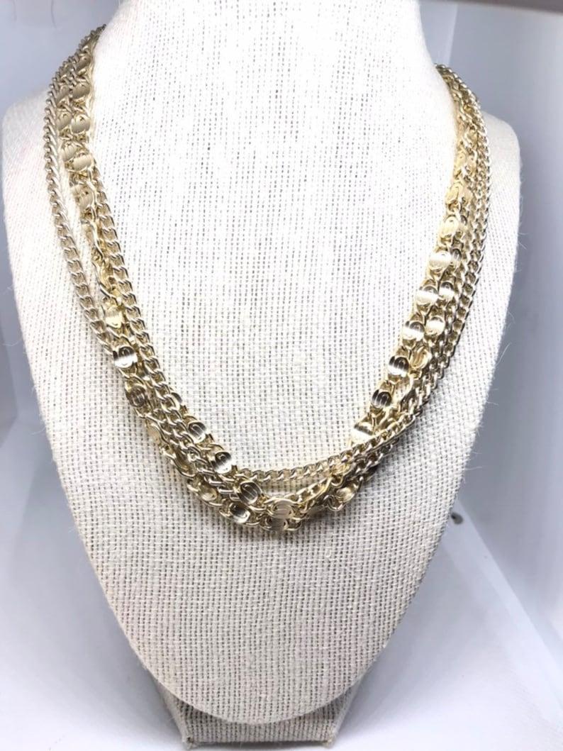 74c7c7f583f10 Sarah Coventry Vintage Modern Multi Chain White Gold Tone Multi Strand  Necklace