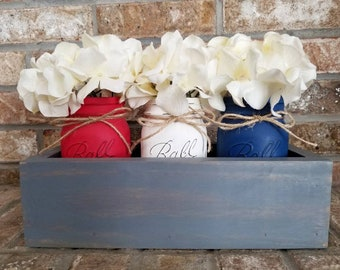 red white and royal blue Americana mason jar centerpieces with wood box, patriotic farmhouse decor, 4th of July centerpiece, military mom