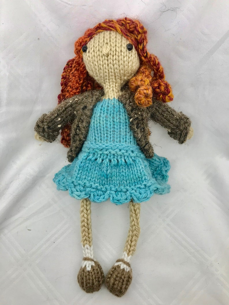 Red Headed Knit Doll with Brown Cardigan and Teal Dress