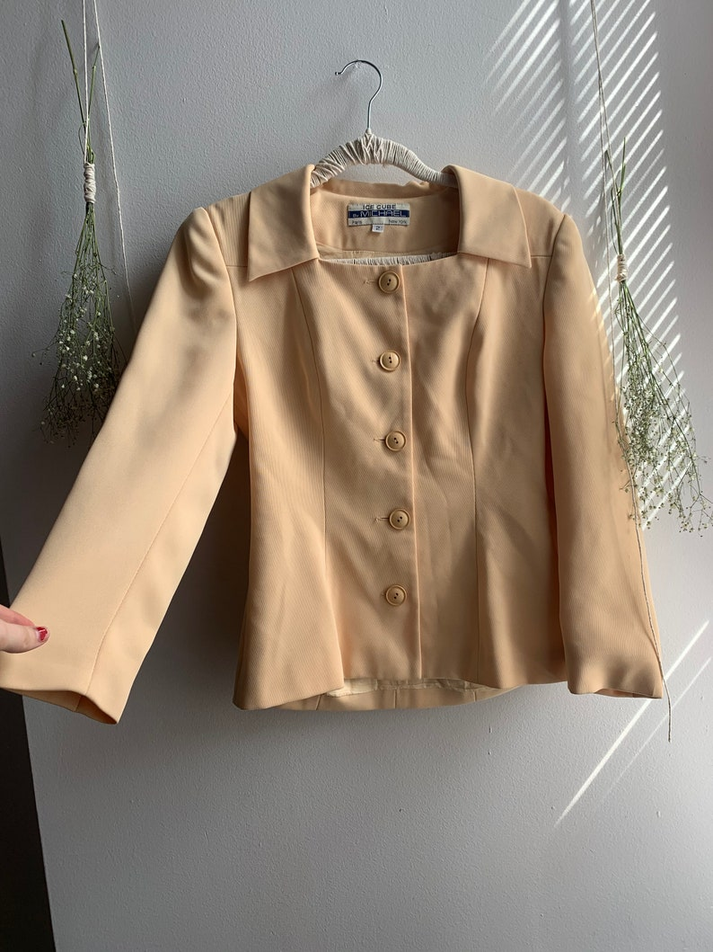 1990s Peach BlazerBlouse with Square Neck by Blume Vintage