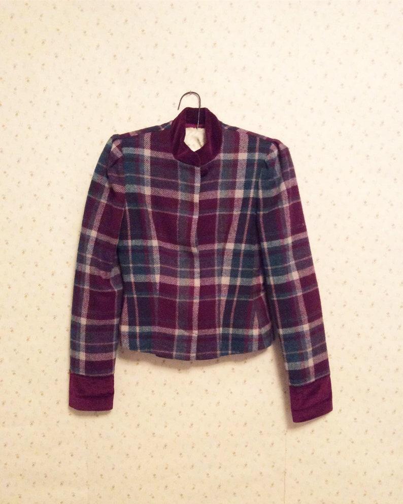 Vintage Maroon Plaid /& Velvet Cropped Jacket