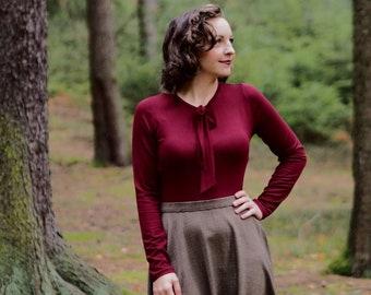 Slipper blouse long-sleeved Bordeaux