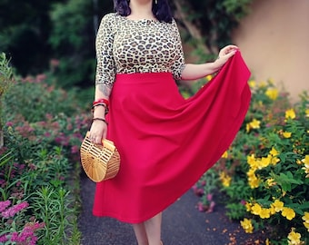 Basic skirt in cherry red in the style of the 50s