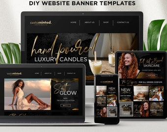 Website Banner Templates, Editable Website Shopify Banners, DIY Wix Online shop Banners, Black and Gold E-Commerce Site Banner Template