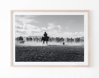 Black and White Cowboy Print, Farmhouse Wall Art, Western Wall Decor, Cowboy Wall Art, Western Animal Print, Digital Wall Art
