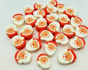 New 25 Christmas Gingerbread man Polymer Clay Fimo Beads Round Coin 10mm