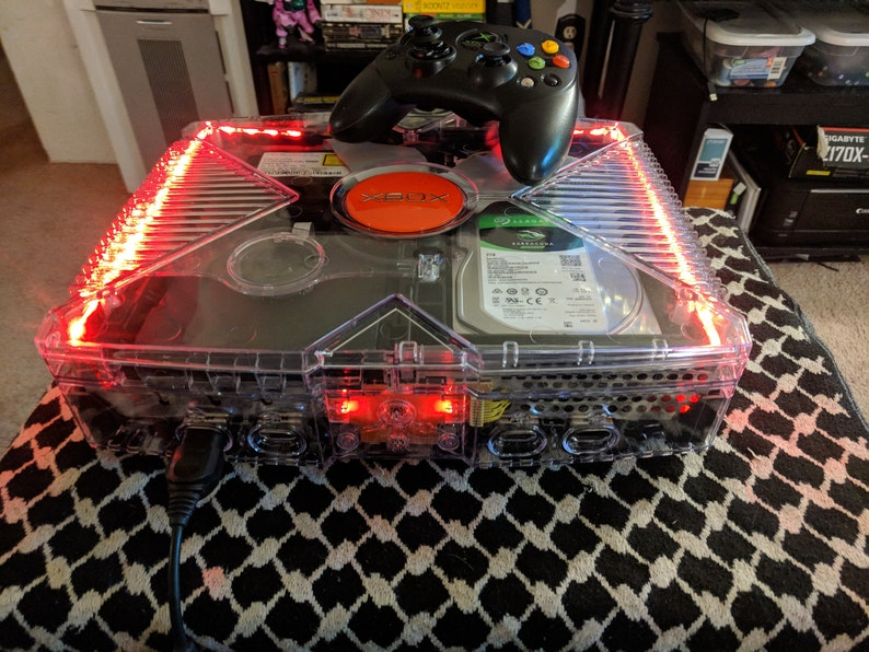 Original Xbox 2TB with Clear Ghost Case Custom Case Mod w/ RED Jewel!