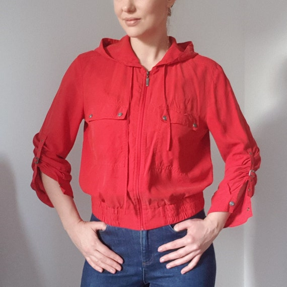 Betty Barclay Red Silk Hooded Bomber Jacket - image 7