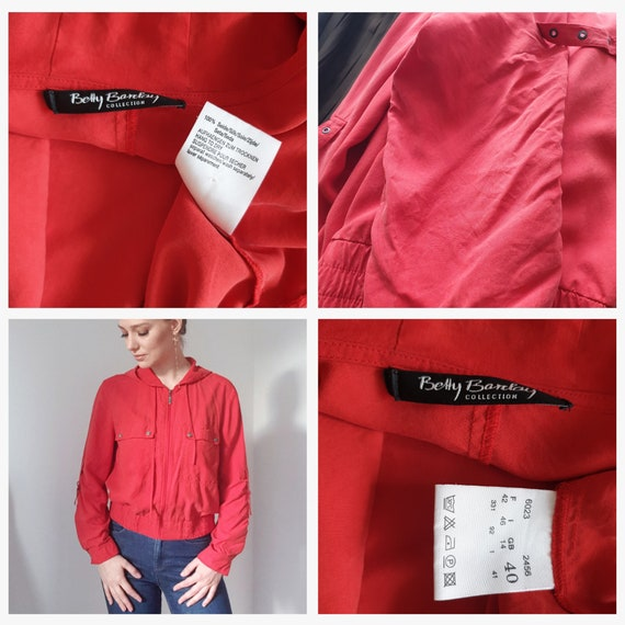 Betty Barclay Red Silk Hooded Bomber Jacket - image 10