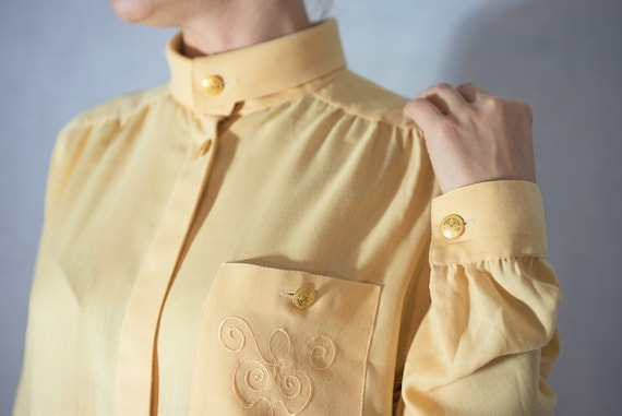 Vintage Canary Yellow Wool Shirt, Wool-flannel Yel