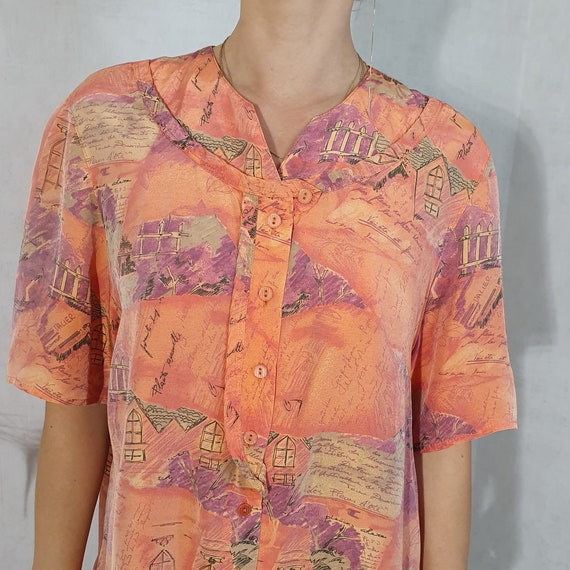 Voglia 80s Vintage Blouse, Short sleeves Blouse, O