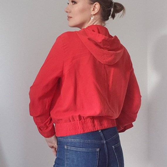 Betty Barclay Red Silk Hooded Bomber Jacket - image 9