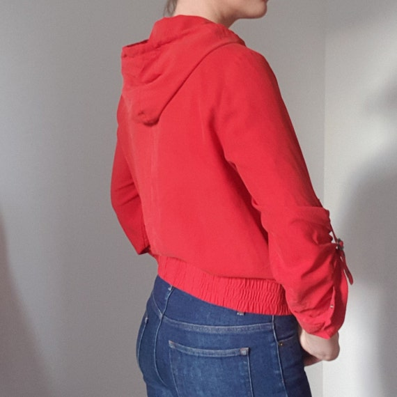 Betty Barclay Red Silk Hooded Bomber Jacket - image 6