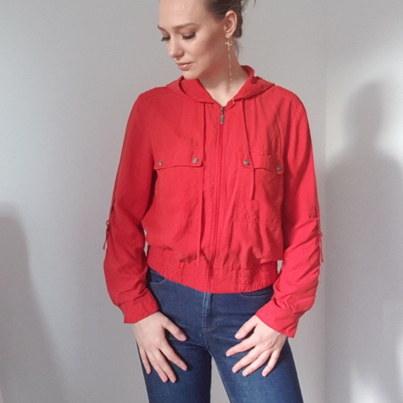 Betty Barclay Red Silk Hooded Bomber Jacket