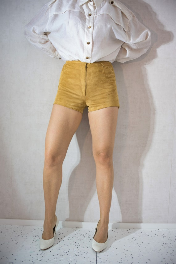 Vintage High Waist Yellow Shorts,Vintage Suede Lea