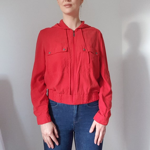 Betty Barclay Red Silk Hooded Bomber Jacket - image 3