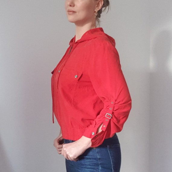 Betty Barclay Red Silk Hooded Bomber Jacket - image 5