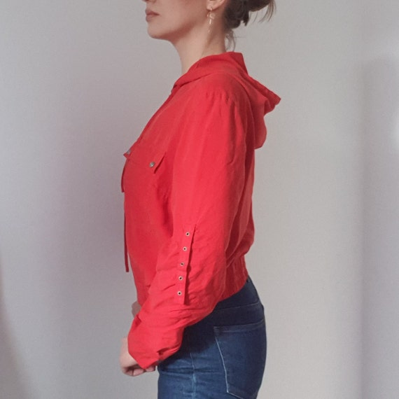 Betty Barclay Red Silk Hooded Bomber Jacket - image 4