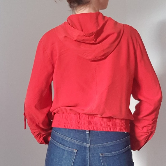 Betty Barclay Red Silk Hooded Bomber Jacket - image 8