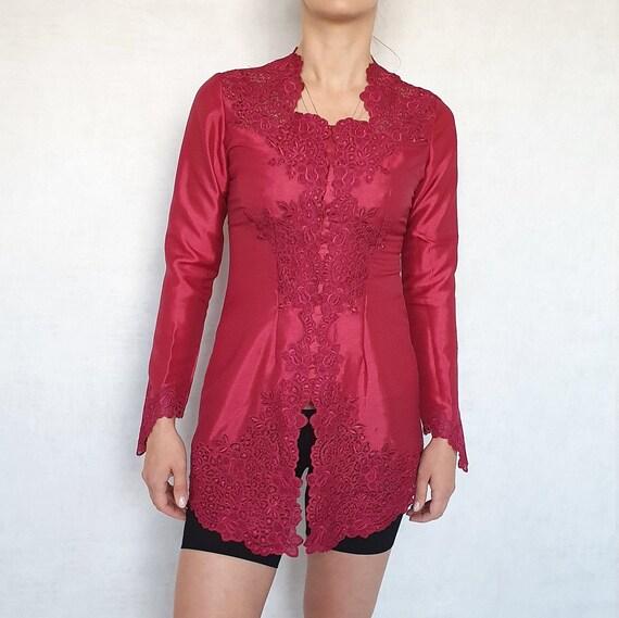 Vintage Carnelian-Red Silk Blazer, Lace Trim Blaze