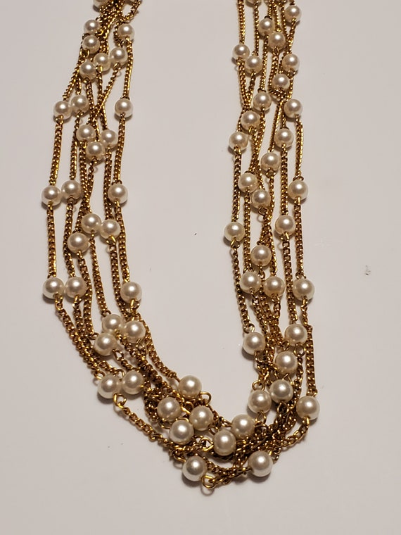 Multi chain faux beaded chain necklace