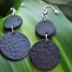Black Textured Geometric Clay Earrings