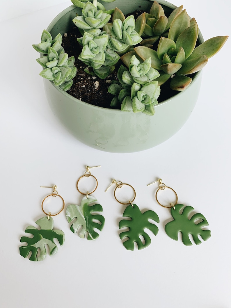 Monstera Leaf Earrings Charity Jewelry Save the Planet image 0