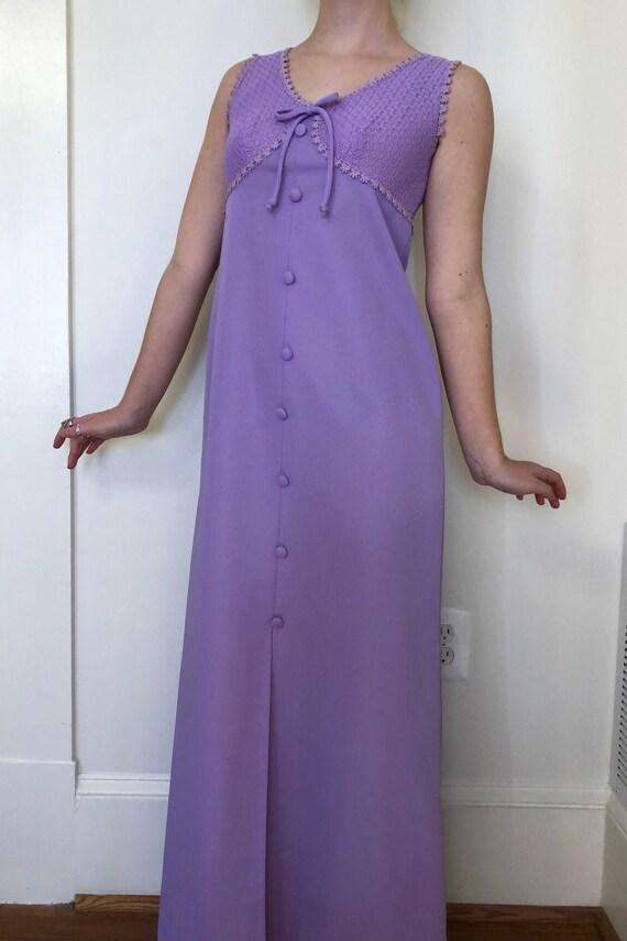 1960s Lilac Maxi Dress