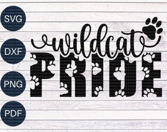 Wildcat Pride SVG, paw print svg, wildcats, team spirit svg, pride shirt svg,cricut cut files, cricut svg files, cutter file
