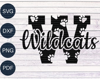 Wildcat SVG, paw print SVG, Cheerleader, Cheer mom svg Letter monogram svg, cut files for cricut or silhouette, svg, png, dxf, download