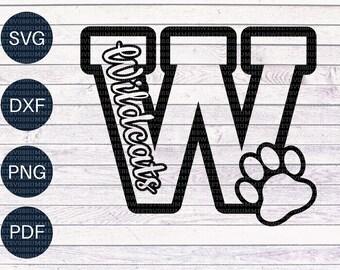 Wildcat SVG, Cheer svg, Paw print cut file, cricut cut files, cricut svg files, cutter file