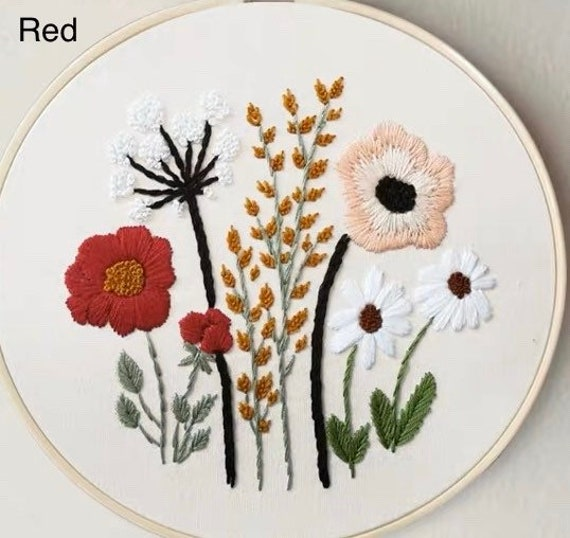 Color Threads Needle Kit Embroidery Hoop MWOOT Embroidery Starter Kit with Little Chrysanthemum Pattern,Cross Stitch Kit Including Embroidery Cloth