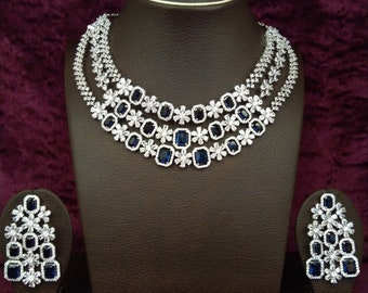 31ac2d471 Indian White Rhodium Plated Cubic Zirconia Blue Sapphire Victorian Bridal Necklace  Set for Women with Earrings, Indian Jewelry, Gift for Her