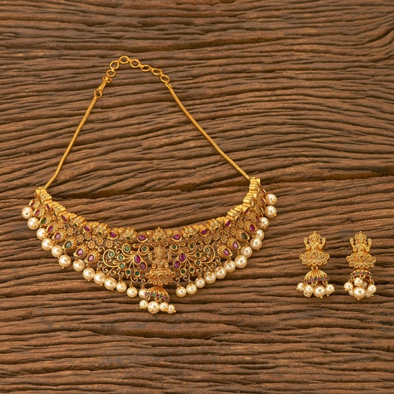South Indian Jewelry Indian Necklace Set Indian Gold Plated Emerald Peacock Pearl Temple Necklace Set For Women /& Girls Indian Jewelry