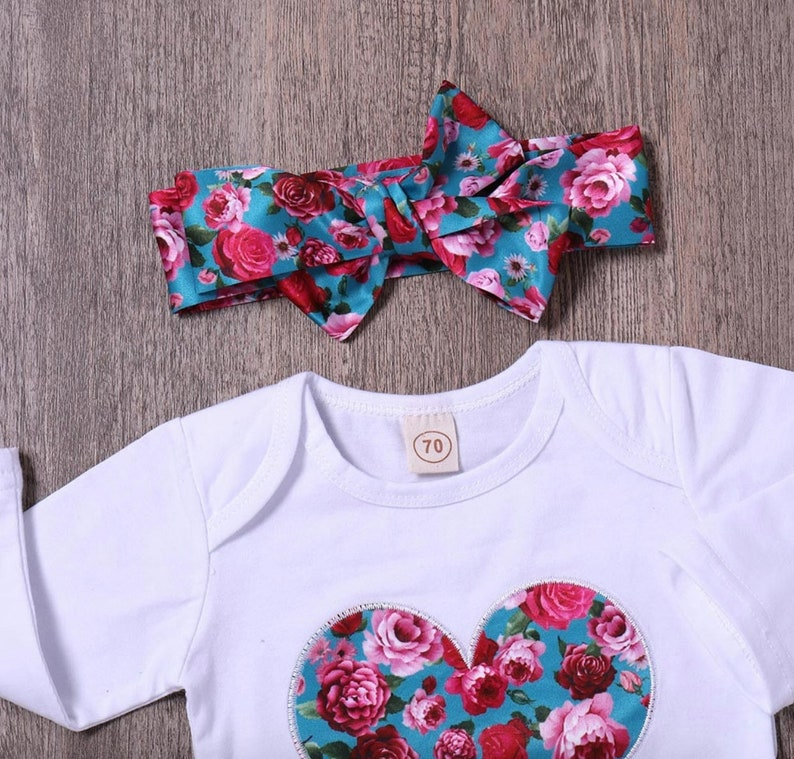 Baby girl clothes Baby clothes Gift For Baby GIrl Baby girl jumpsuit Baby girl romper and headband and pants set Baby girl outfits