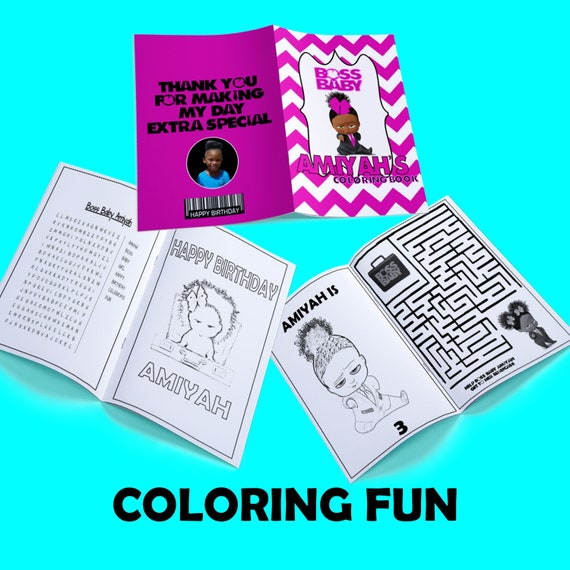 Boss Baby Coloring Book-Boss Baby Birthday-Girl Boss Baby-Custom Coloring  Book-Boss Baby Party-Boss Baby Favor