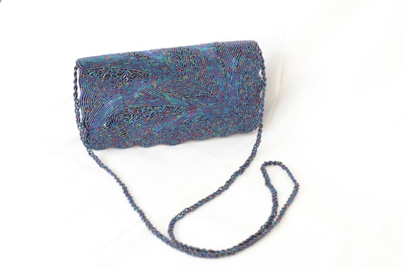 Vintage blue beadedbag japanese 1960s *INTL SHIPPI