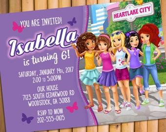 Lego Friends Invitation Birthday Friend Party Girl Invitations Theme Invite Printables Card