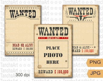 Wanted poster PNG Printable Birthday Poster Digital file, Old paper texture Wanted frame bundle Clip art Cut file Instant download 300dpi